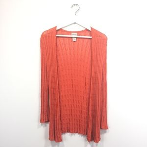 Chicos Cardigan 1 Medium Orange Open Front Knit
